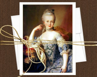 Marie Antoinette Blank Note Cards, Set of 10 Cards With Matching Envelopes
