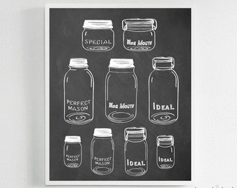 Mason Jar Collage Print - Historic Mason Jars - Ball, Ideal, Special, Wide Mouth, Perfect, Chalkboard, Sign, Print, Decor, Kitchen, Quote