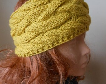 Cable Hand Knit Headband  Ear Warmer Head Warmer Mustard Yellow