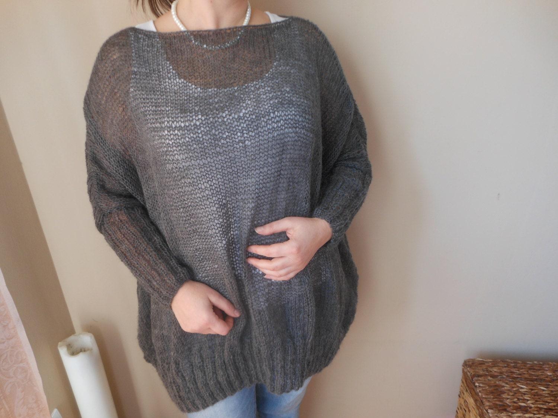 Oversized Plus Size Hand Knit Sweater Tunic Loose Knit