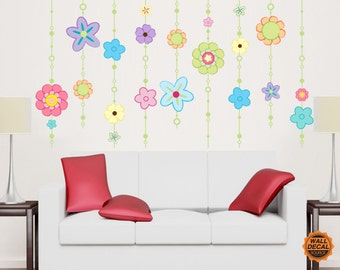 Flower Vines Wall Decal - Floral Vinyl Wall Stickers
