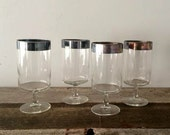 Dorthy Thorpe Silver Banded Wine Glasses S/4