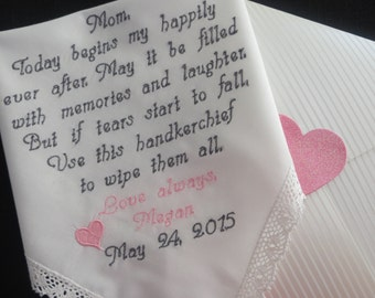 40 words of your choice. Mother's Personalized Wedding Handkerchief. Free Gift Box With Each One That You Order.