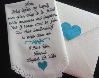 Personalized Wedding Handkerchief for the Mother of the Bride................Free Gift Box