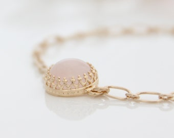Rose Quartz Bracelet | Dainty gold bracelet with rose quartz gemstone | Pastel pink bracelet | Gifts for her