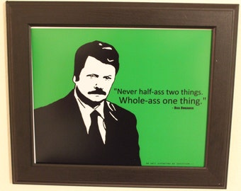 Ron Swanson Art Print w/ Quote