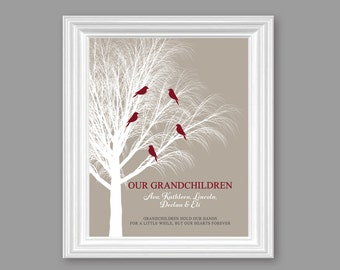 Personalized GRANDPARENTS Art Print GIFT, Our Granchildren // Grandparents art print, Khaki, 8x10 or 11x14 // Birthday Christmas Gift