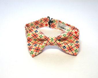 Bow Tie - Salmon w/ Multi Color Plaid Bowtie