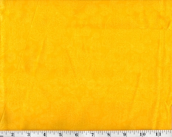 1 yard, White Floral on Yellow
