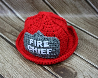 Crochet Pattern For Baby Fireman Hat : Crochet Fireman Hat, Fire Chief Hat, Toddler, Child, Costume