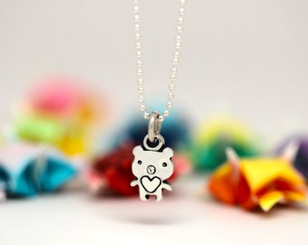 Little Bear charm, sterling silver, kid jewelry (Chain Sold Separately)