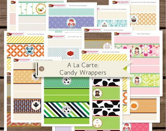 Candy Wrapper - A la carte party printables - birthday printable - Build your Party - party favors