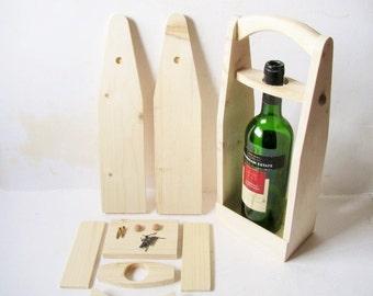 DIY wood wine bottle tote. Wine carrier diy kit. Wine bottle tote kit.
