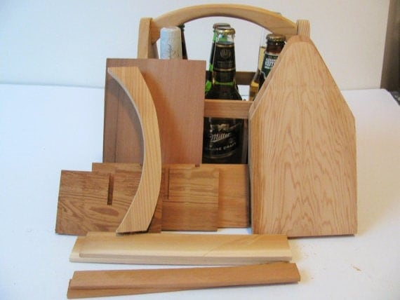 10 DIY  Wood 6 Pack Bottle Carriers, Beer Boat or Beer Tote, Gifts for Men, Gifts for Dad, Groomsmen Gifts