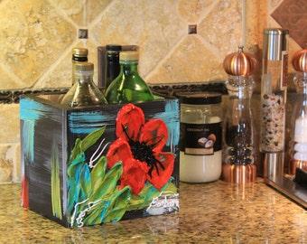 Countertop Kitchen Utensil Storage - Red Flower - Item #4B