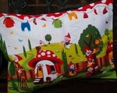Handmade Michael Miller Gnomeville cushion, childrens soft furnishings, nursery decor.