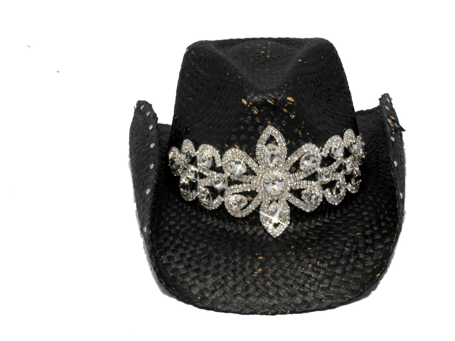 black bling womens cowboy hat by timetwochange on etsy