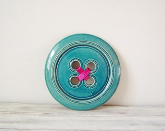Blue ceramic button, turquoise wall button sculpture, earthenware clay, retro style button wall hanging, Greek pottery decorative button