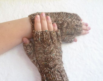 Sale - Hand Knitted Fingerless Gloves for Women, Wool Acrylic Cabled Knit Gloves, Clickclackknits