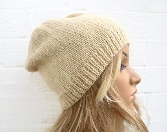 Sale Women Knit Hat, Pure Wool Hand Knitted Slouchy Beanie Hat, British Cream Natural Undyed Wool, Eco Friendly Hat, ClickClackKnits