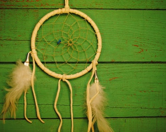 WHITE signed natural leather Native American Made etsy  beautiful vintage dreamcatcher  feather turquoise stone dream signed MADE  AMERICA