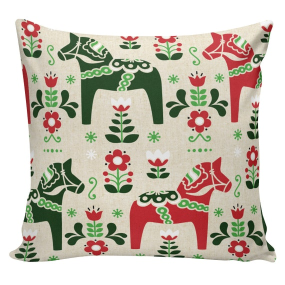 Scandinavian Christmas Pillow : Items similar to Holiday Pillow Cover Swedish Scandinavian Christmas Sampler Dala Horse French ...