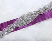 Glass Rhinestone applique, Iron sew crystal applique, Wedding dress applique, Long wedding sash, Swarovski Rhinestone Crystal applique