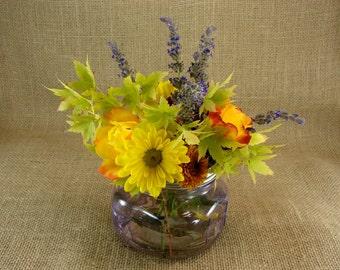 Hand Made Mason jar Wide Mouth Frog Lid Vase- Lilac Mason Jar - Purple Mason Jar