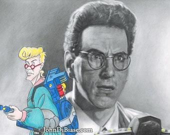 Harold Ramis as Egon Spengler in Ghostbusters with Real Ghostbusters Egon Drawing Print