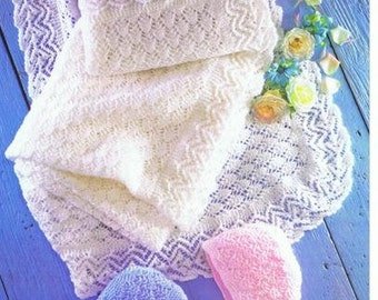 baby knitting pattern for  vintage style baby shawl  and bonnet / helmet shawl  size  48 in