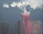 Contemporary Art Print, Ready to Hang Canvas Art Print, Modern Wall Art Canvas Dancer Poster Gift for Ballerina Grey Wall Decor