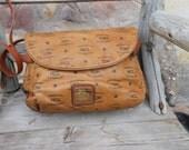 Authentic Vintage HCL Monogrammed Leather Shoulder Bag DISTRESSED