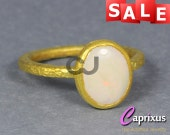 SALE 30% OFF - Handcrafted Hammered Stackable Ring, Gold Vermeil 925K Sterling Silver Natural Cabochon Opal Solitaire Stacking, Stack Ring