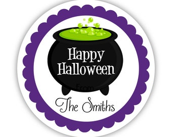 Halloween Stickers - Purple Black Green, Cute October Halloween Witch Cauldrin Personalized Birthday Party Stickers - Round Sticker Labels