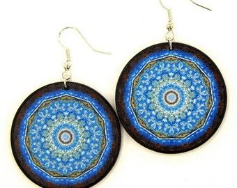 Turquoise blue earrings, statement earrings, gypsy style jewelry, nautical dangling earrings, flat turquoise earrings, beachy earrings, boho
