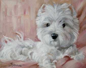 PRINT Westie West Highland Terrier Dog Puppy Art Oil Painting / Mary Sparrow