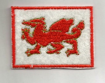 WELSH DRAGON fabric PATCH Badge - iron or sew on your jeans,  jackets, caps