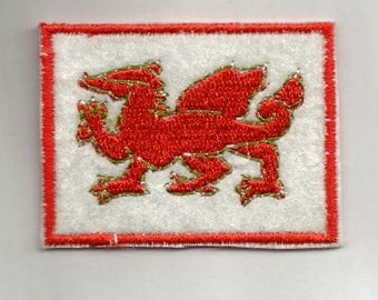WELSH DRAGON and English Roses fabric PATCH Badge - iron or sew on your jeans,  jackets, caps