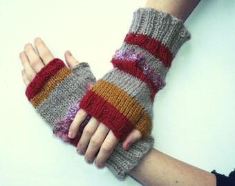 Striped fingerless gloves knitted red custard grey purple