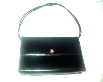 Small Black Leather Handbag by Mastercraft Made In Canada