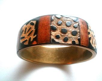 Carved Bone & Brass Bangle Boho Tribal Primitive Ethnic Bohemia