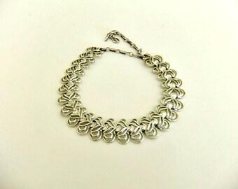 Coro Silver Tone Chain Choker Necklace