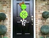 Large Chevron Topiary Burlap Door Hanger Personalized with your Monongram.