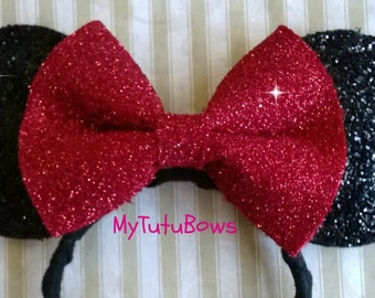 MINNIE MOUSE EARS Headband Black Ears with Big Red Bow Glitter Sparkle Sequin Fits Adults and Children