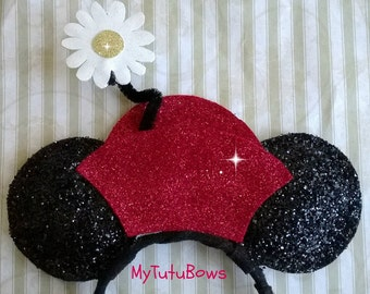 Minnie Mouse Ears Headband Retro Hat Red Bow White Daisy Glitter Sparkle Sequin Fits Adults and Children