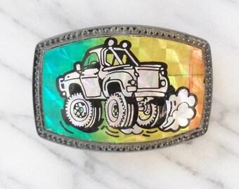 Vintage Hologram Big Wheel Truck Belt Buckle