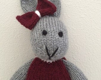 Stuffed Animal - Knitted Bunny - Stuffed Toy in Dress - Stuffed Bunny - Soft Toy - Handmade Toy