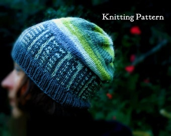 Knit Hat Pattern, Womens Knitted Cap Pattern, City Skyline Hat, Beanie Pattern, Slouch Hat Knitting Pattern, DIY Hat, Picture Knitting