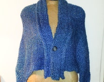 Shawl Boucle  Peacock Blue, Ocean Blue, wrap, shawl, large, wide collar, made in Vermont, hand knit, strech