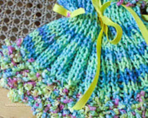 RAINBOWS AND BOWS.......Summer Scarf, Aqua Blue, Yellow & Violet, 100% Soft Natural Cotton, Art Yarn, Ex. long, Stretchy, Ruffles, Bows,